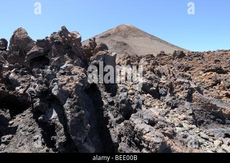 Lava field at Teide volcano, Tenerife Spain - Stock Photo
