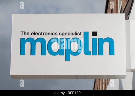 The logo and branding sign outside a Maplins Electronics shop in Harrow, Middlesex, UK. - Stock Photo