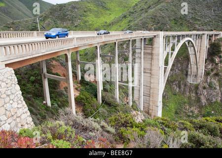 Bixby Bridge along the 'Big Sur' on the central California coast, USA - Stock Photo