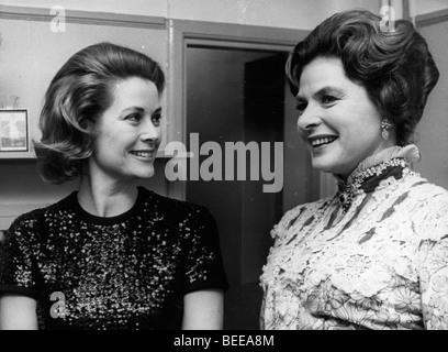 Grace Kelly, Princess of Monaco, left, with actress Ingrid Bergman. - Stock Photo