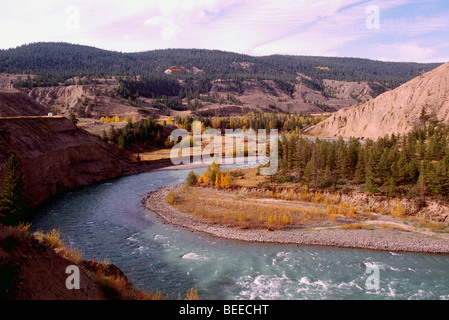 Chilcotin River flowing through Farwell Canyon, Cariboo Chilcotin Region, BC, British Columbia, Canada - Autumn - Stock Photo