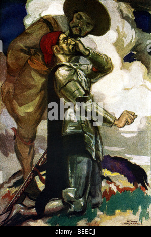 In this 1920 painting, Sancho Panza, the neighbor Alonso asks to be his squire, listens to Don Quixote addressing - Stock Photo