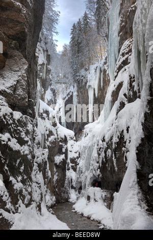 Partnachklamm gorge near Garmisch-Partenkirchen, Werdenfelser Land, Upper Bavaria, Bavaria, Germany Stock Photo