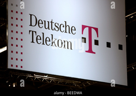 Logo at the trade fair stand of the Deutsche Telekom, T-Systems, at the computer and IT fair Systems in Munich, - Stock Photo