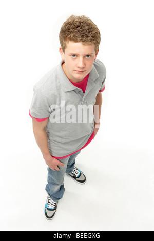 Portrait of Smiling Teenage Boy in Studio - Stock Photo