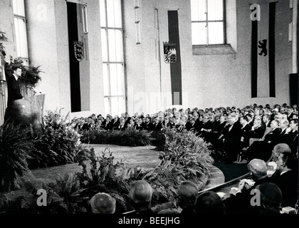 US President John Fitzgerald Kennedy speaks during his visit to West Germany - Stock Photo