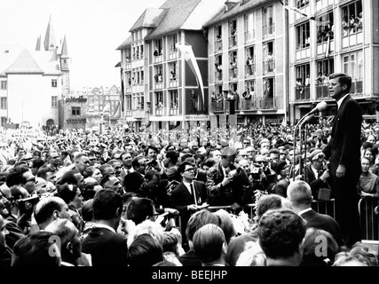 US President John Fitzgerald Kennedy gives a public speech in West Berlin in which he famously said, 'Ich bin ein - Stock Photo