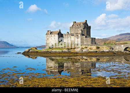 Eilean Donan Castle located at Dornie by Loch Duich in the Western Highlands of Scotland - Stock Photo