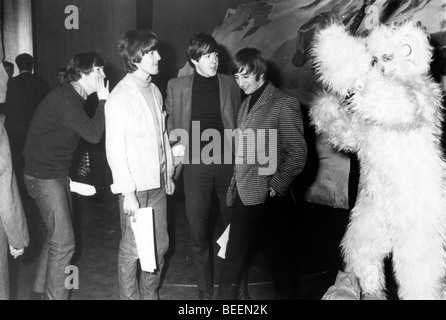 The Beatles with Jimmy Savile filming show - Stock Photo