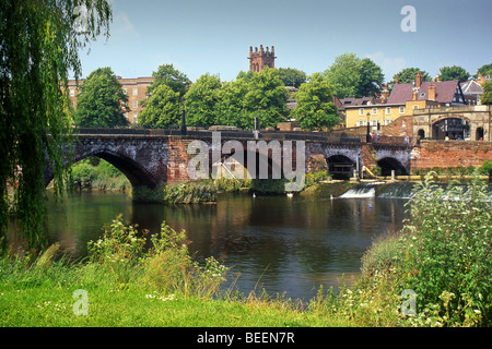 The Old Dee Bridge & River Dee, Chester, Cheshire, England, UK - Stock Photo