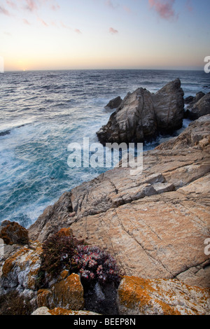 Pinnacle Cove at dusk, Point Lobos State Reserve, California, USA - Stock Photo