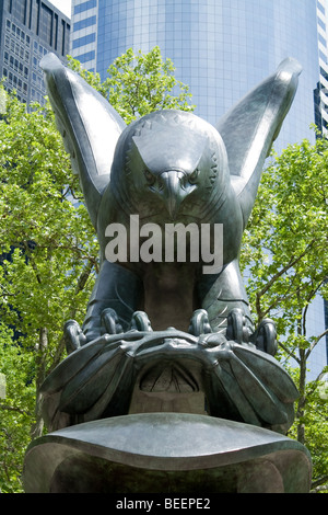 Memorial Eagle Statue at Battery Park, New York - Stock Photo