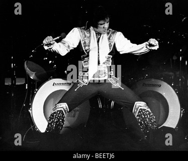 Singer Elvis Presley performs at Madison Square Garden - Stock Photo
