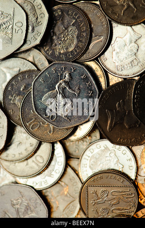 Pile of  assorted coins UK money cash coins coinage silver currency - Stock Photo