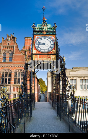 The Victorian Eastgate Clock on the City Walls, Chester, Cheshire, England, UK - Stock Photo