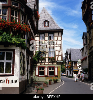 Altes House (Old House) - an ancient timber framed house which overlooks the marketplace in the wine town of Bacharach - Stock Photo