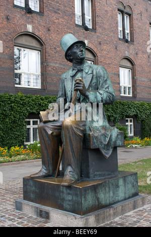 Statue of Hans Christian Andersen in Copenhagen, Denmark - Stock Photo