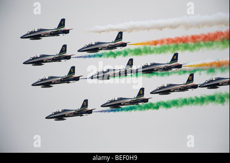 The Italian Aerobatic Display Team the Frecce Tricolori formation flying at RIAT 2009 - Stock Photo
