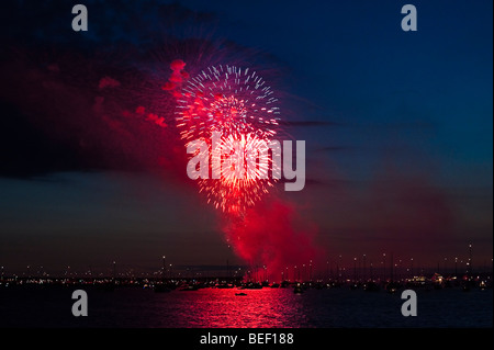 Fireworks night at Cowes Week 2009, Isle of Wight, England, UK - Stock Photo