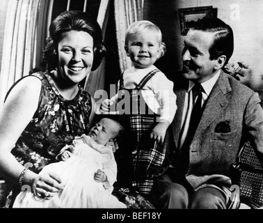 Princess Beatrix and Claus von Amsberg with sons - Stock Photo