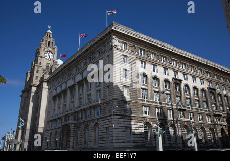 The Cunard Building with the liver building in the background one of liverpools three graces listed buildings on - Stock Photo