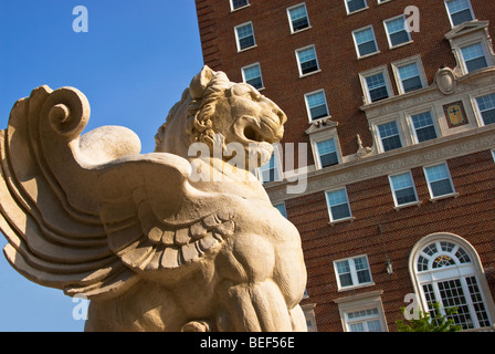 Winged lion statue at the north end of the Grove Arcade in Asheville, North Carolina, USA - Stock Photo