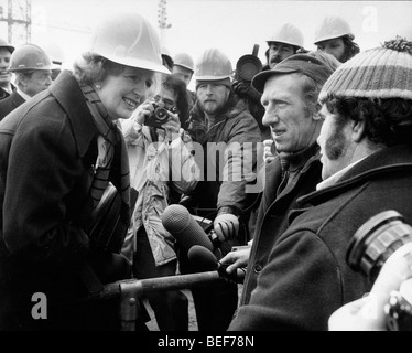 Prime Minister Margaret Thatcher at construction sight - Stock Photo