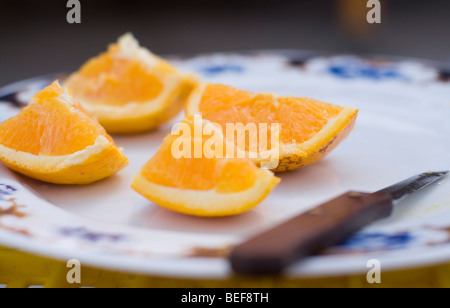 oranges on a plate Spain - Stock Photo