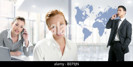 Modern office with beautiful women and handsome businessman - Stock Photo