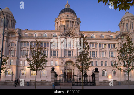 the port of liverpool building one of liverpools three graces listed buildings on the liverpool waterfront at pier - Stock Photo