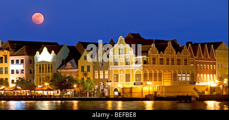 Moon rise over Willemstad, Curacao,  Netherlands Antilles - Stock Photo