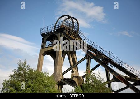 Headstocks of a disused coal mine - Stock Photo