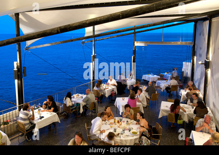 The terrace of Riso restaurant in Funchal Madeira. - Stock Photo