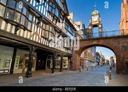 The Victorian Eastgate Clock on the City Walls, Eastgate Street, Chester, Cheshire, England, UK - Stock Photo