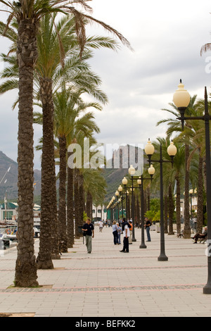 Promenade by harbour in Cartagena in Spain - Stock Photo