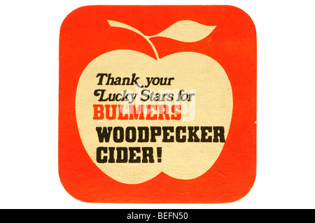 thank your lucky stars bulmers woodpecker cider beer mat - Stock Photo