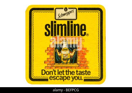 schweppes slimline dont let the tsate escape you - Stock Photo
