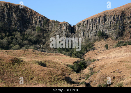 Basalt Columns In The Drakensberg Mountains, South Africa - Stock Photo