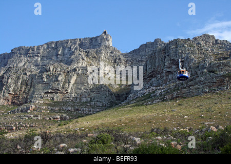 Cable Car Ascends Table Mountain, Cape Town, South Africa - Stock Photo