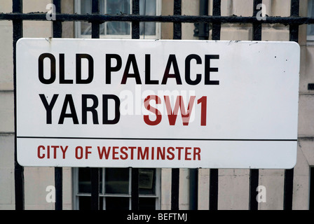 Street sign for Old Palace Yard, Westminster, London - Stock Photo