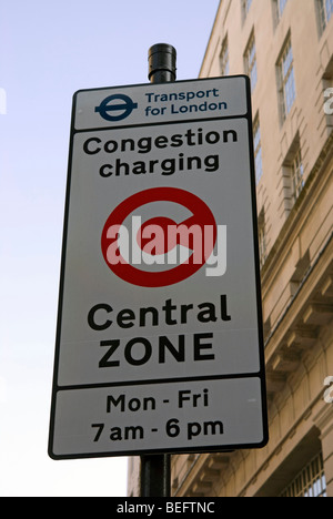 Congestion Charging sign in London - Stock Photo