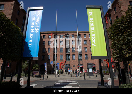 entrance to the albert dock and beatles museum liverpool merseyside england uk - Stock Photo