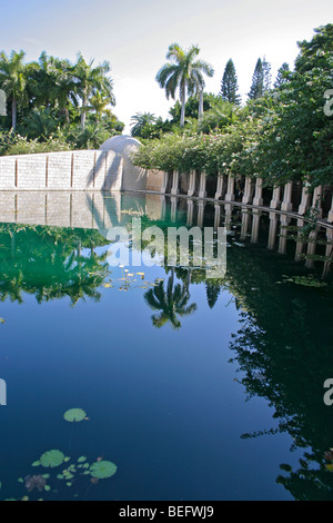 Lily pond at the Garden of Meditation in the Holocaust Memorial, Miami Beach, FL, USA. - Stock Photo