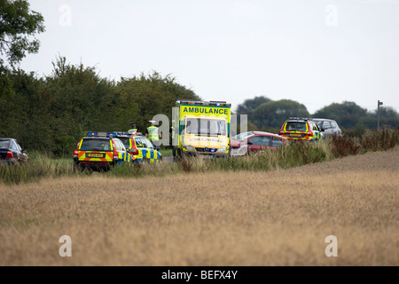 Road Traffic Accident on a Country Lane - Stock Photo