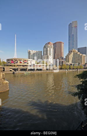 Yarra River Southbank promenade high rise skyscraper buildings seen from Princes Bridge Melbourne Australia - Stock Photo