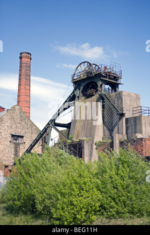 Derelict headstocks of a disused coal mine - Stock Photo