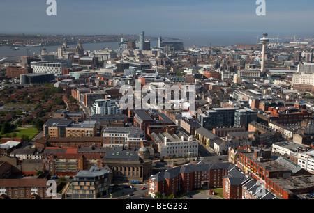 aerial view over the city of liverpool and river mersey merseyside england uk - Stock Photo