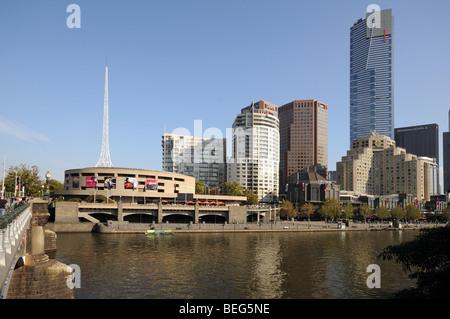 Yarra River Southbank promenade high rise skyscraper buildings seen from Princes Bridge Melbourne Australia - Stock Photo