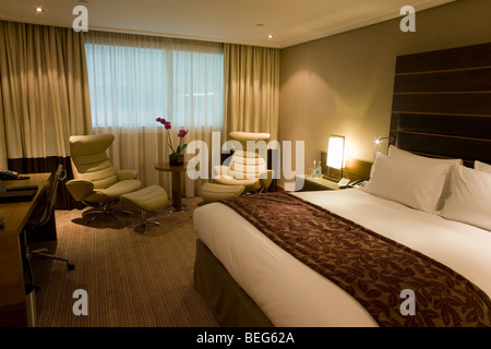 Luxury room in hotel chain, Sofitel at Heathrow's terminal 5. - Stock Photo