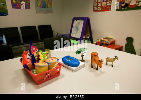 Childrens' toys in a UK Border Agency's immigration detention room for minors run by Group 4 at Heathrow Airport's - Stock Photo